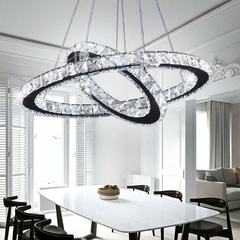 modern led crystal chandeliers two rings pendant