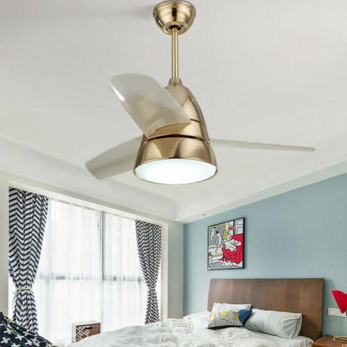 Modern Indoor Metal Ceiling Fan with LED Light Decor 3 Blade