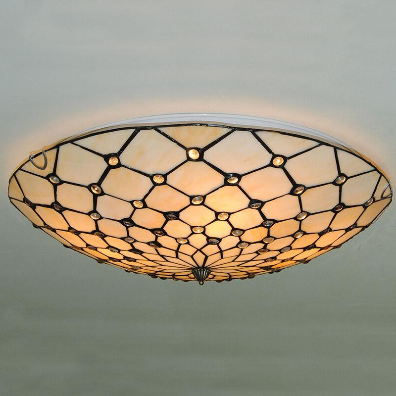 Tiffany Chandelier Flush Mount Stained Glass