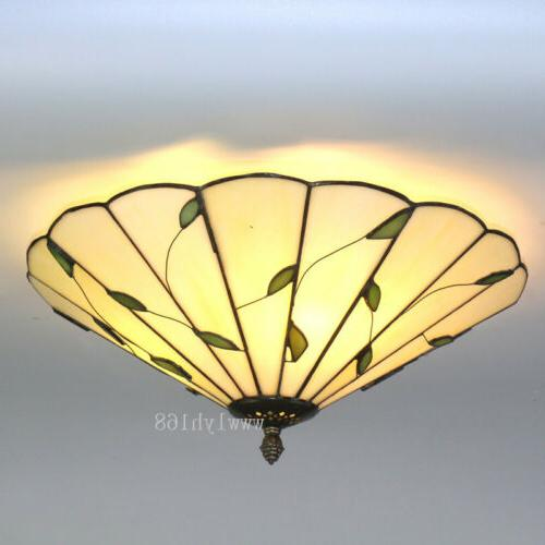 tiffany style leaf flower vintage light stained