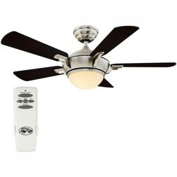 LED Indoor Brushed Nickel Ceiling Fan with Light Kit and Rem