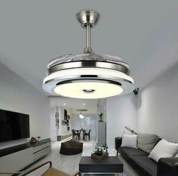 """Modern 36"""" Invisible Ceiling Fans with 3-Color LED Light Fan"""