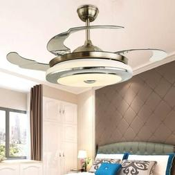"Modern 36"" Invisible Ceiling Fans with Dimmable LED Light Fa"