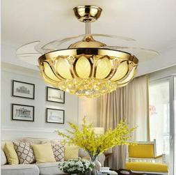 """Modern 42"""" Crystal Ceiling Fan with Lights Invisible LED Rem"""