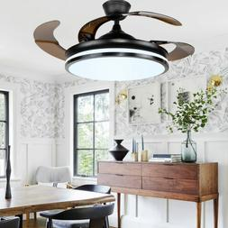 "42 ""Modern LED Ceiling Fan Light 3 speed control 4 Retractab"