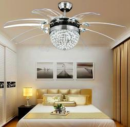 Modern Invisible Crystal Ceiling Fan Lamp Take Off Chandelie