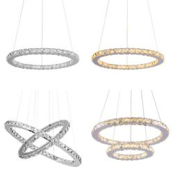 Modern LED Crystal Chandelier Ring Circles Pendant Ceiling L