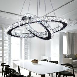 Modern LED Crystal Chandeliers Two Rings Pendant Lamp Round