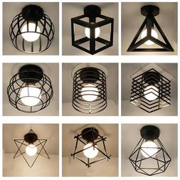 Modern nordic black wrought iron E27 led <font><b>ceiling</b
