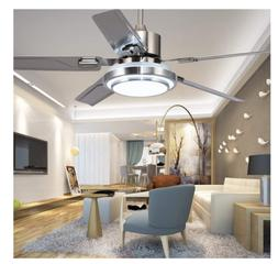 Modern Stainless Steel Ceiling Fan Light Lamp Remote Control