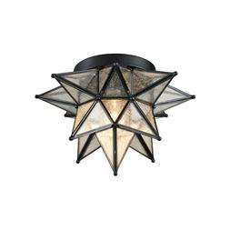 Moravian Star Ceiling Light Black Copper Glass Flush Mount 1