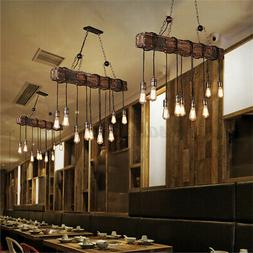 Retro Wood Industrial Pendant Light Bar Hanging Ceiling Lamp
