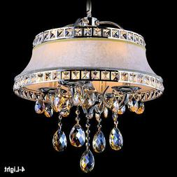 Rustic 4-Light Chandelier with Round Fabric Covered Shade Ce