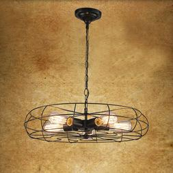 Rustic Industrial Iron Ceiling Fan Light Chandelier Metal Ha