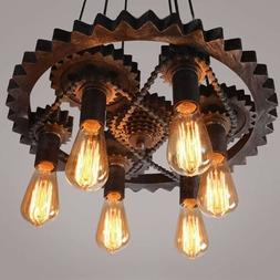 Rustic Steampunk Gear Chain Chandelier Ceiling Light Metal P