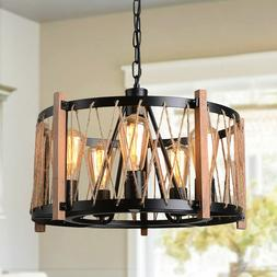 Rustic Wood Metal Chandelier Farmhouse Pendant Light Ceiling