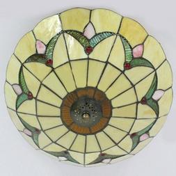Tiffany Stained Glass Style Chandelier Flush Mount Ceiling L