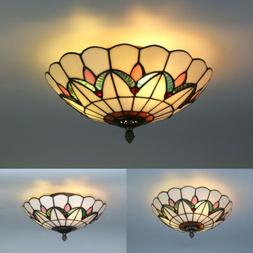 Tiffany Style Flush Mount Ceiling Light Stained Glass Lamp S