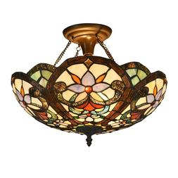 Tiffany Victorian 2-Light Semi Flush Ceiling Lamp Stained Gl