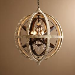Weathered Wooden Globe Small Chandelier Bedroom Entryway Cei
